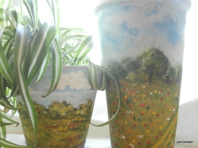 doniczki malowane farbami olejnymi