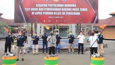 Lapas Pemuda Tangerang Gelar Tes Urin, Penyuluhan Narkoba, Hingga Pemusnahan Hasil Sidak