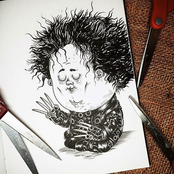 19-Edward-Scissorhands-Alex-Solis-Baby-Terrors-Drawings-Horror-Movie-Villains-www-designstack-co