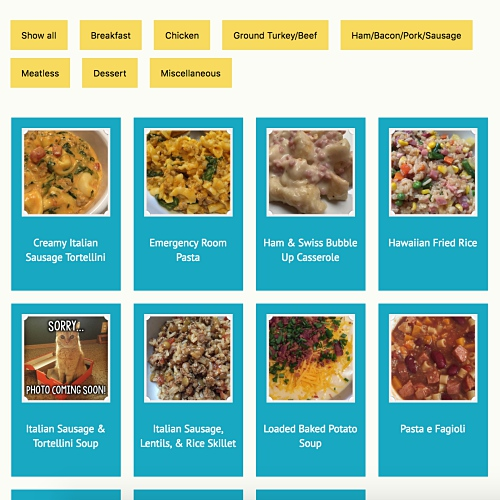 Recipes page layout with thumbnails