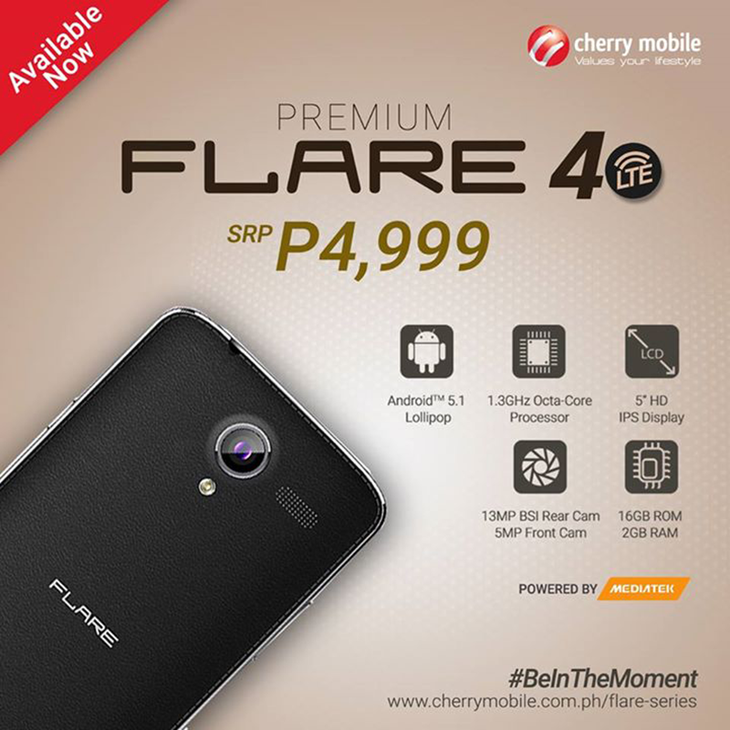 Cherry Mobile Flare 4 Now Available Nationwide, Priced At 4999 Pesos!