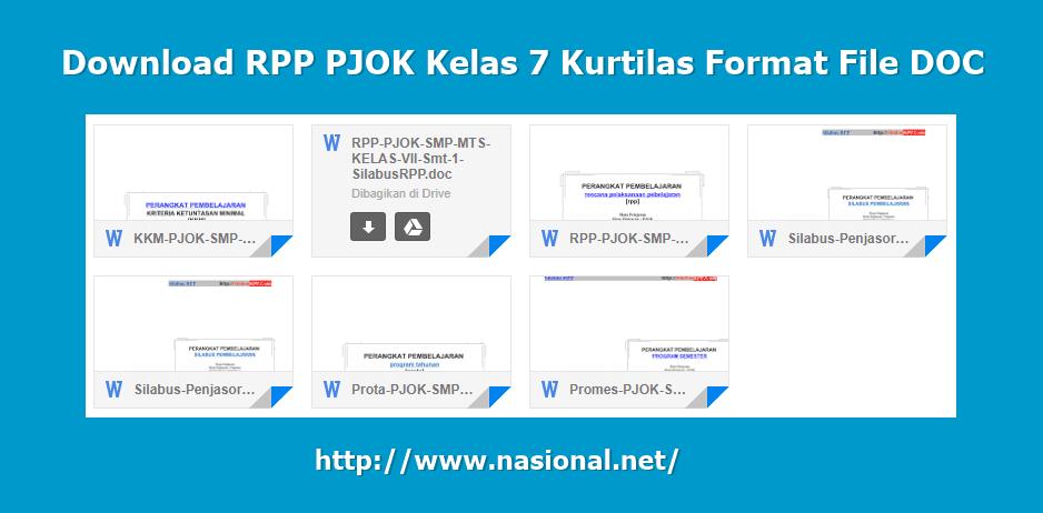 Download RPP PJOK Kelas 7 Kurtilas Format File DOC Terbaru