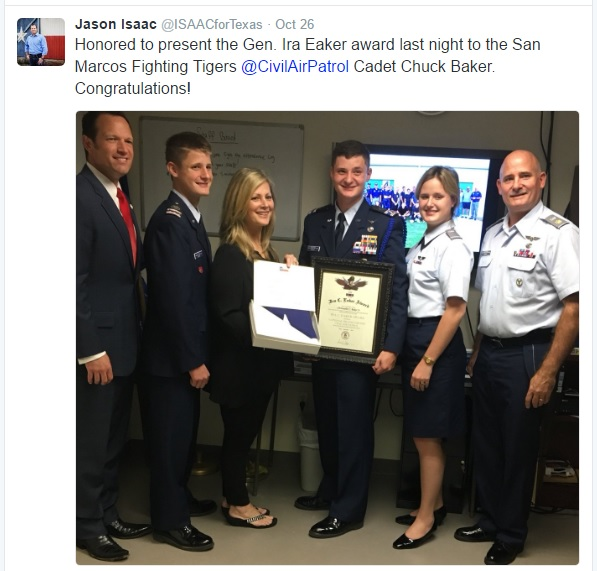Congratulations to Civil Air Patrol cadet Chuck Baker on his General Ira Eaker award.