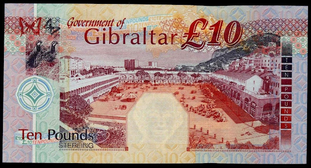 Gibraltar money currency 10 Pounds banknote 2002 Gibraltar National Day