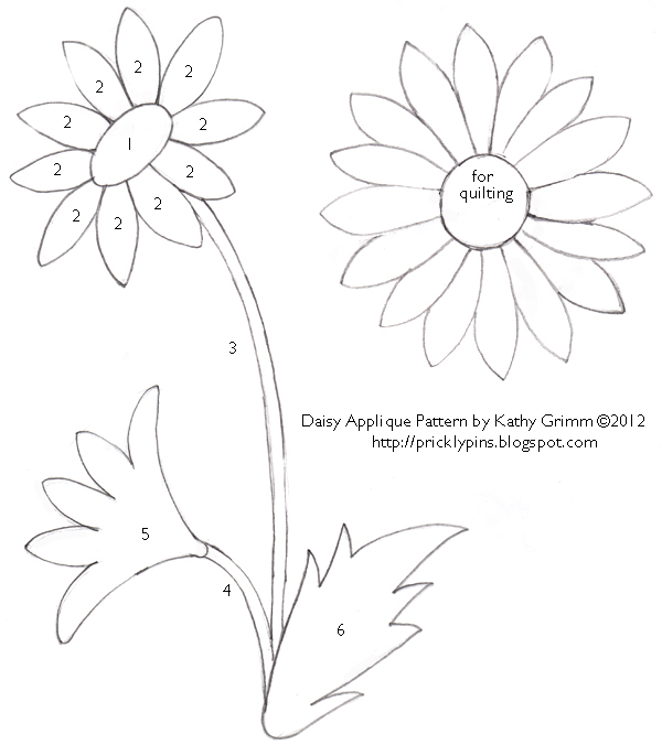 daisy cut out template - daisy applique pattern by kathy grimm prickly pins