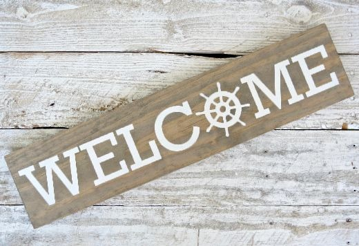 Coastal Nautical Wood Welcome Sign