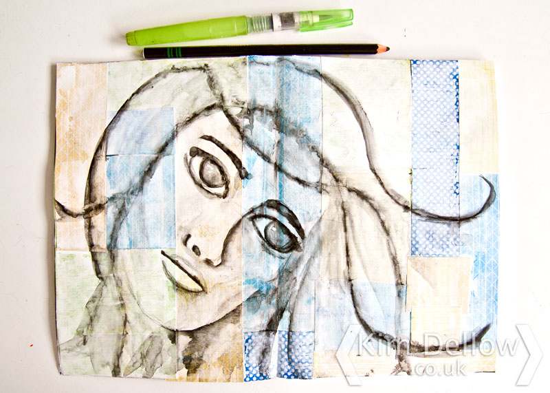 Art Journal portrait with Stabilo and water