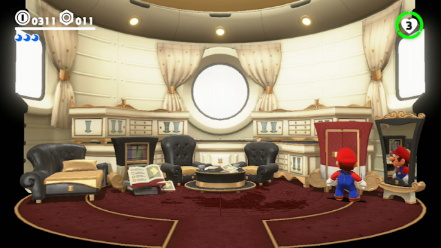 Super Mario Odyssey inside interior spaceship design chairs closet mirror