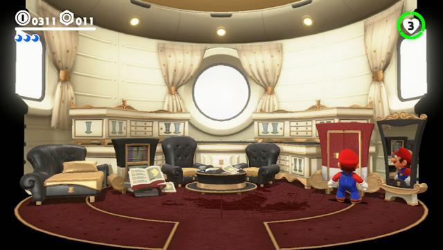 Super Mario Odyssey inside interior spaceship design chairs closet mirror