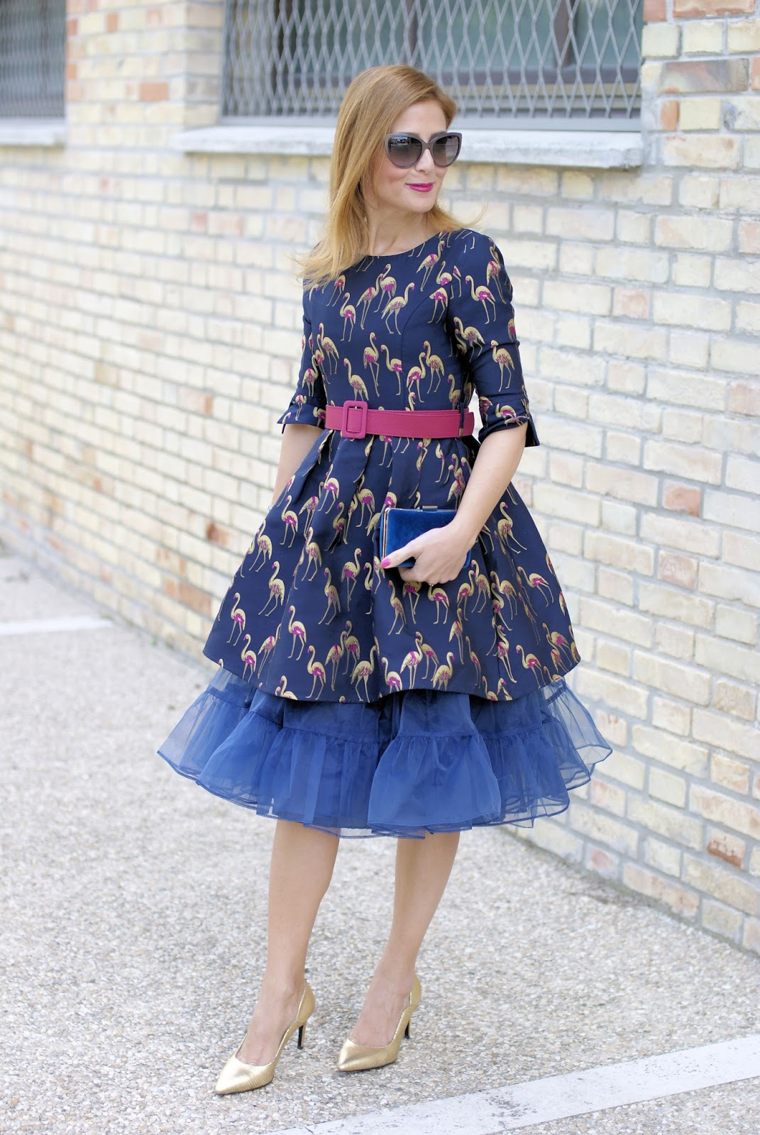 Dezzal crane print jacquard dress and how to wear a tulle petticoat, Giovanni Fabiani shoes on Fashion and Cookies fashion blog, fashion blogger style