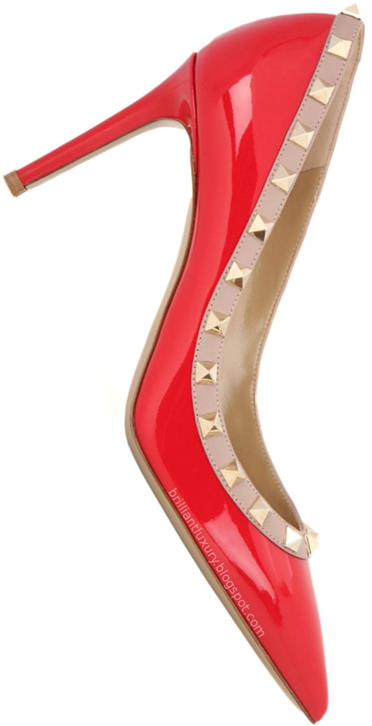 Brilliant Luxury ♦ Valentino Garavani Rockstud patent red leather pumps