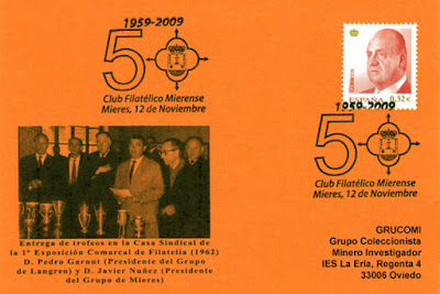Tarjeta del matasellos del 50 aniversario del Grupo Filatélico Mierense