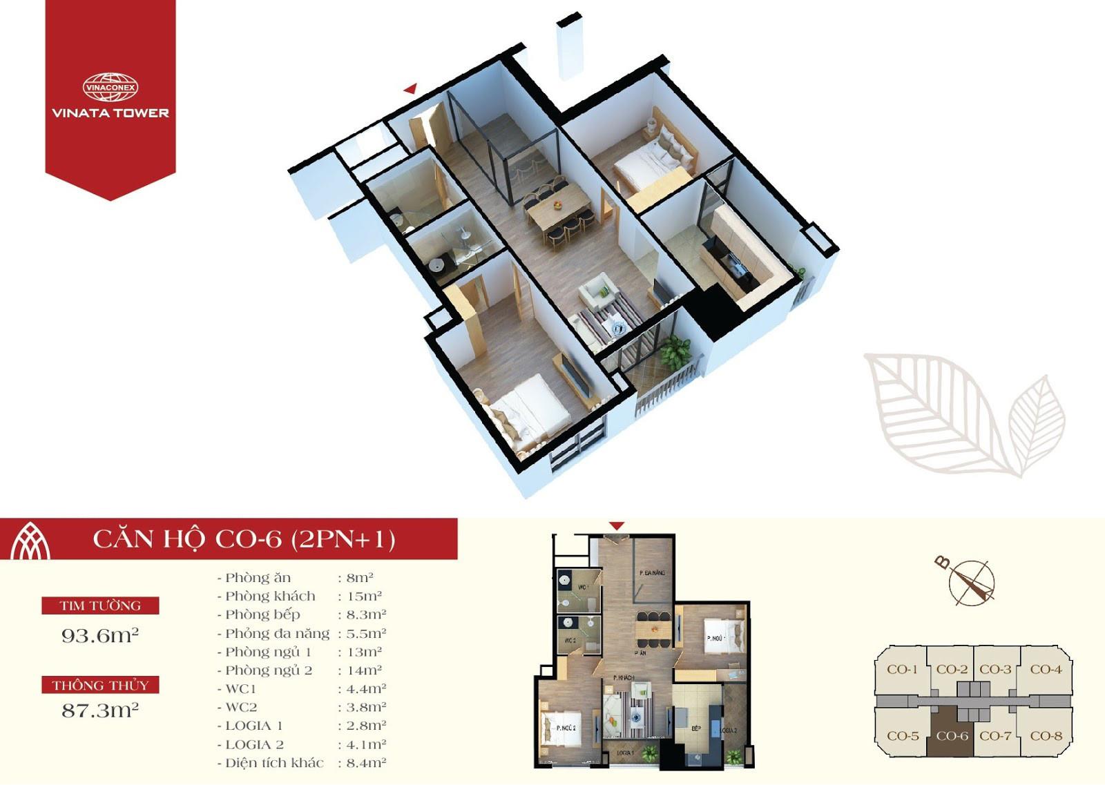 Thiết kế chi tiết căn hộ CO-06 DT 87,3m2 - 2PN, 1 đa năng, 2VS
