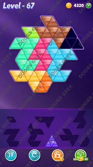 Block! Triangle Puzzle 8 Mania Level 67 Solution, Cheats, Walkthrough for Android, iPhone, iPad and iPod