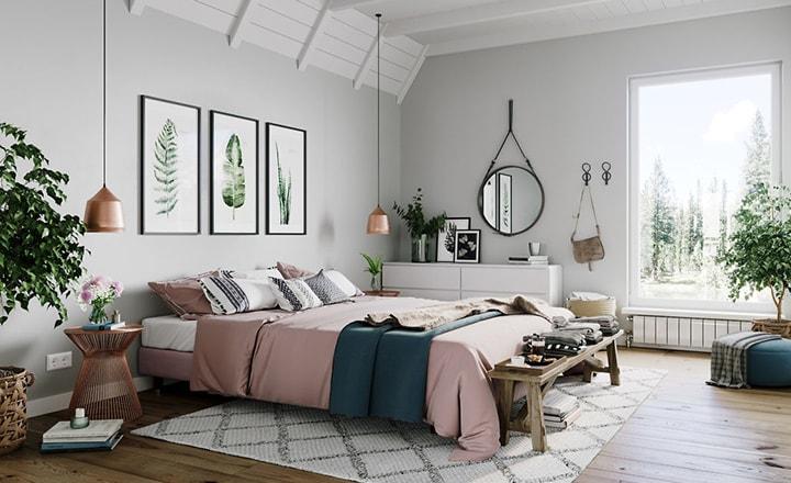 decoração de quarto em cores naturais