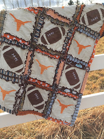 Football Rag Quilt with Longhorn Silhouette Applique