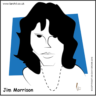 Jim Morrison caricature by Ian Davy Brown