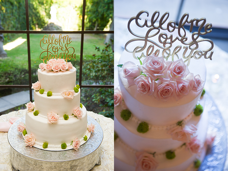 The wedding cake's location at the Villa Del Sol D'Oro makes it easy to use different approaches to lighting