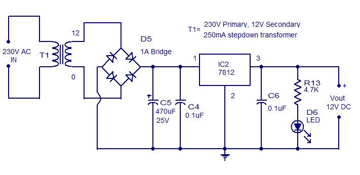 دائرة منظم جهد 12V وتيار 1A بإستخدام 7812