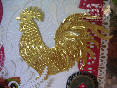 year of the rooster card front door detail rooster