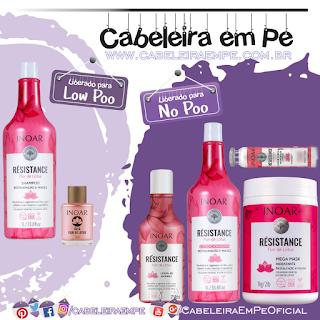 Shampoo (Low Poo), Máscara (No Poo e Co wash); Condicionador, lelave in e Ampola (liberados para No Poo) Résistance Flor de Lótus - Inoar