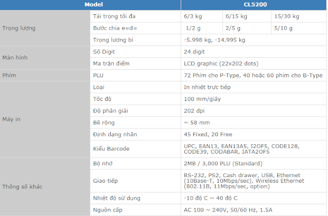 cân siêu thị in nhãn cas cl-5200bp 30kg