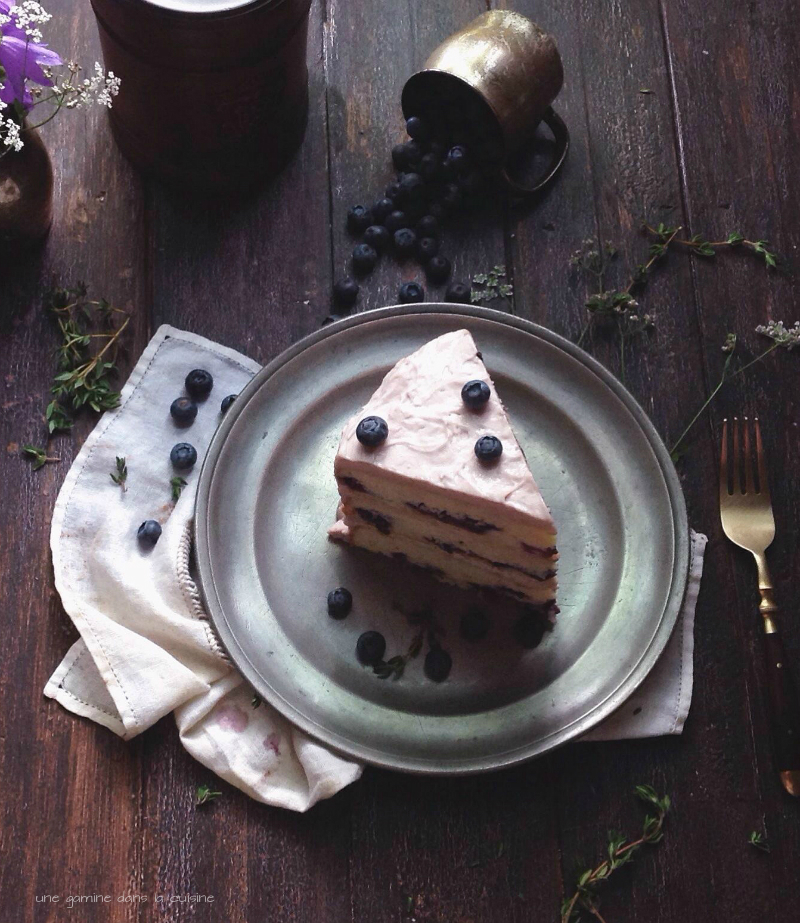 blueberry basil cake with blueberry thyme mascarpone German buttercream | une gamine dans la cuisine