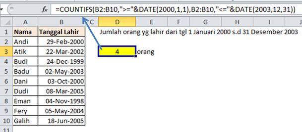 Contoh Rumus Excel COUTIFS