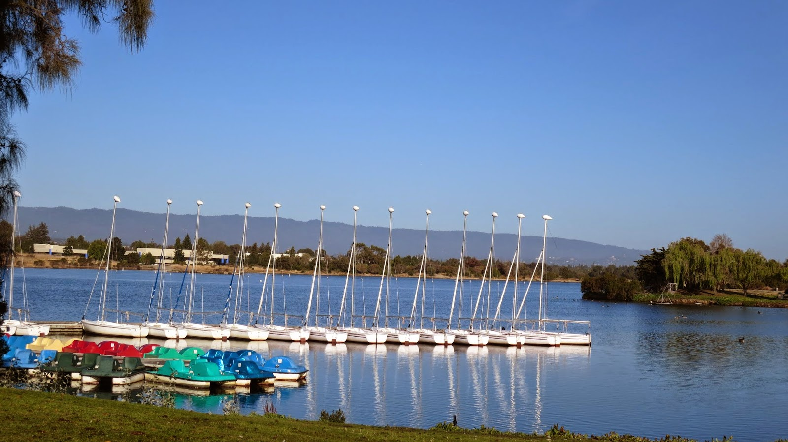 Boats on Shoreline Lake in Mountain View, California