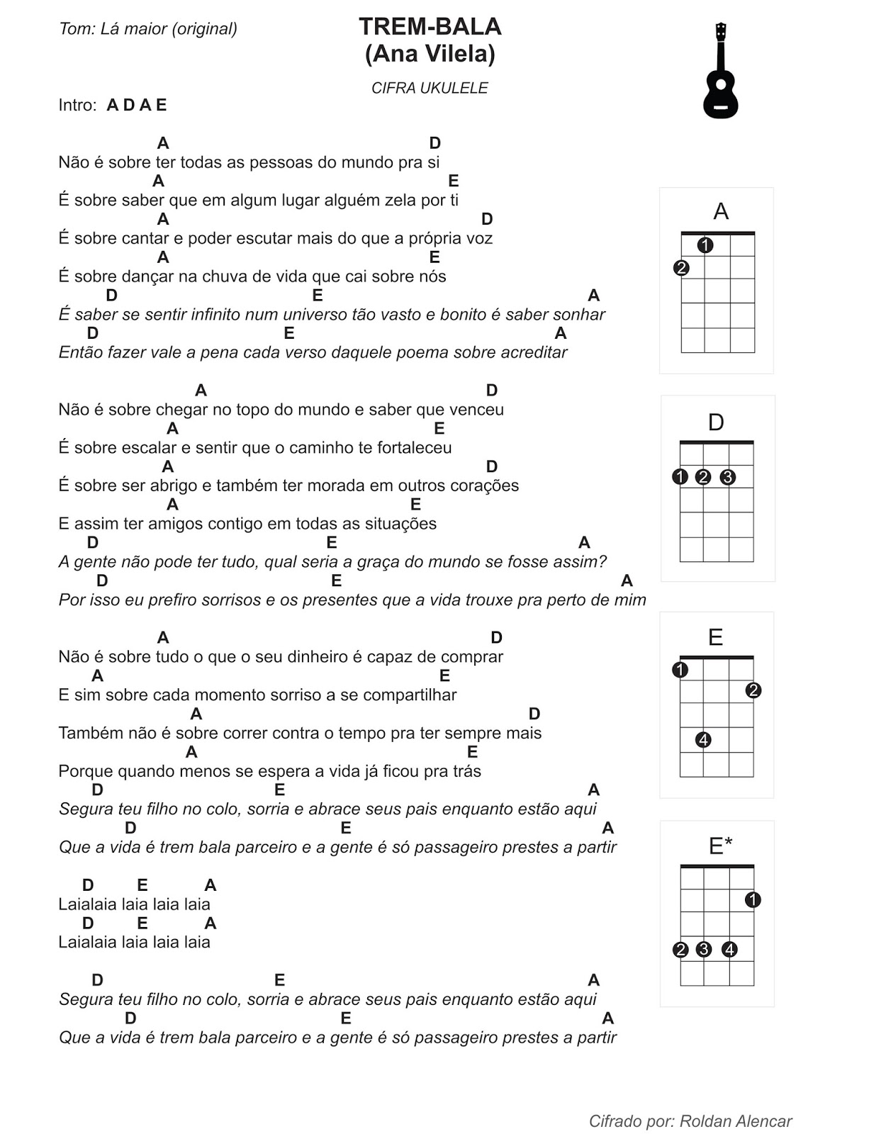 Cifras Em Desenho ~ Caos Controlado Trem Bala Ana Vilela Cifra ukulele (Lá maior e Sol maior)