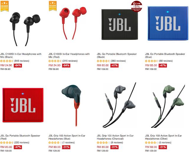 Lazada Malaysia JBL In-Ear Headphones with Mic Go Portable Bluetooth Speaker