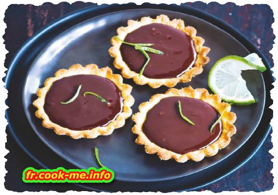 Tartelette au chocolat, gingembre et citron vert