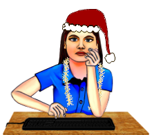 Me typing at Christmas cartoon