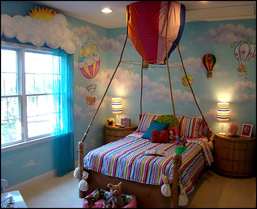 Decorating theme bedrooms maries manor hot air balloon for Bed decoration with flowers and balloons