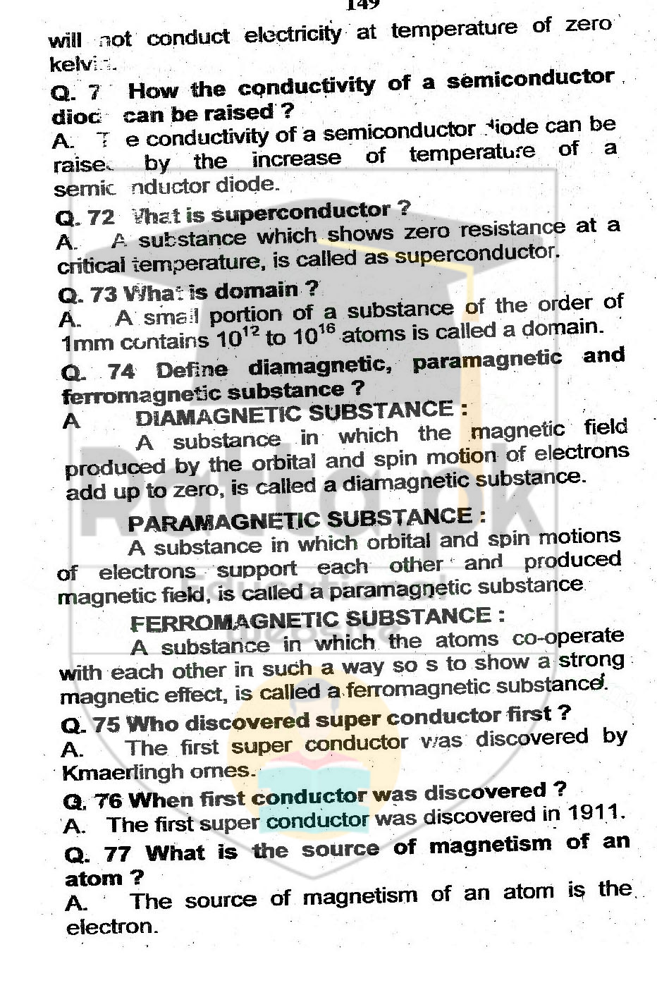 Physics of Solids Short Questions Notes
