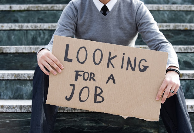 """Looking for a job"" cardboard sign, from unemployed job hunter."