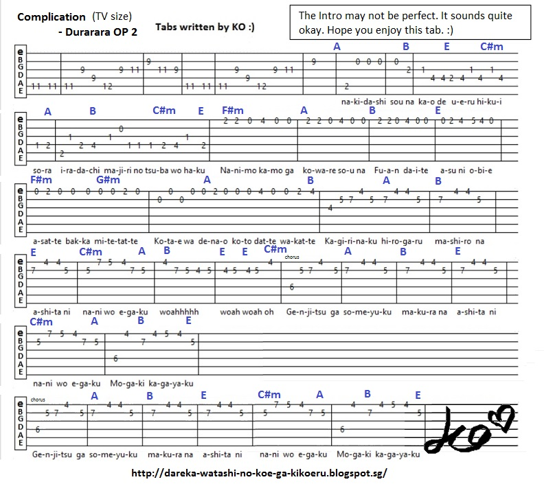 Anime Guitar Tabs Tabs For Complication Durarara Op 2
