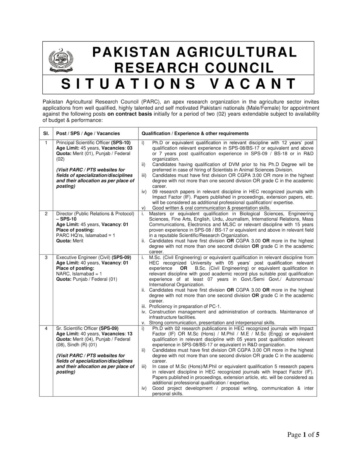 Pakistan Agriculture Research Council (PARC) (288) Latest jobs 2018