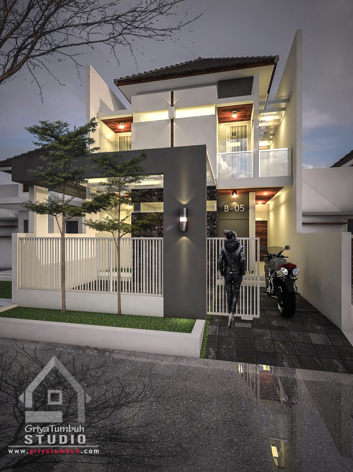 Desain Bangunan [Fasad Depan] & Desain Rumah Kos 2 Lantai Surabaya