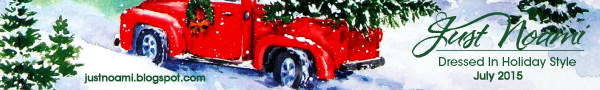 Dreesed In Holiday Style 2015 Banner Ad with red pick up truck, snow and green trees