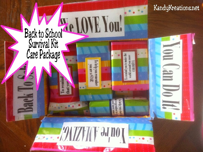 Celebrate your college freshman's first day of school with a care package from home.  This back to school kit has cheap but fun Dollar store items that will let your student know you love them and are rooting for them as they head back to the classroom.