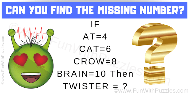 IF AT=4 CAT=6 CROW=8 BRAIN=10 Then TWISTER = ?