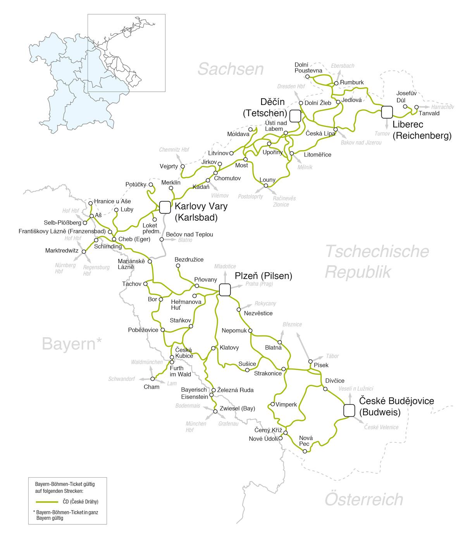 捷克 Böhmen 波希米亞鐵路交通網大地圖 (58.7 KB)