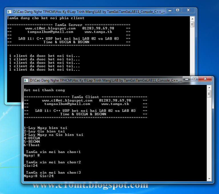 lập trình mạng UDP Console C++