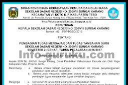 Contoh SK Surat Tugas Mengajar Guru Kurikulum 2013 & KTSP 2006 Tahun 2018/2019
