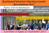 Jharkhand Netarhat Vidyalaya Samiti Recruitment – Instructor