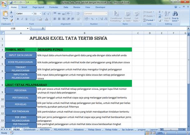 Aplikasi Tata Tertib Sekolah dengan Microsoft Excel