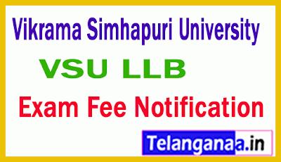 Vikrama Simhapuri University LLB Exam Fee Notification