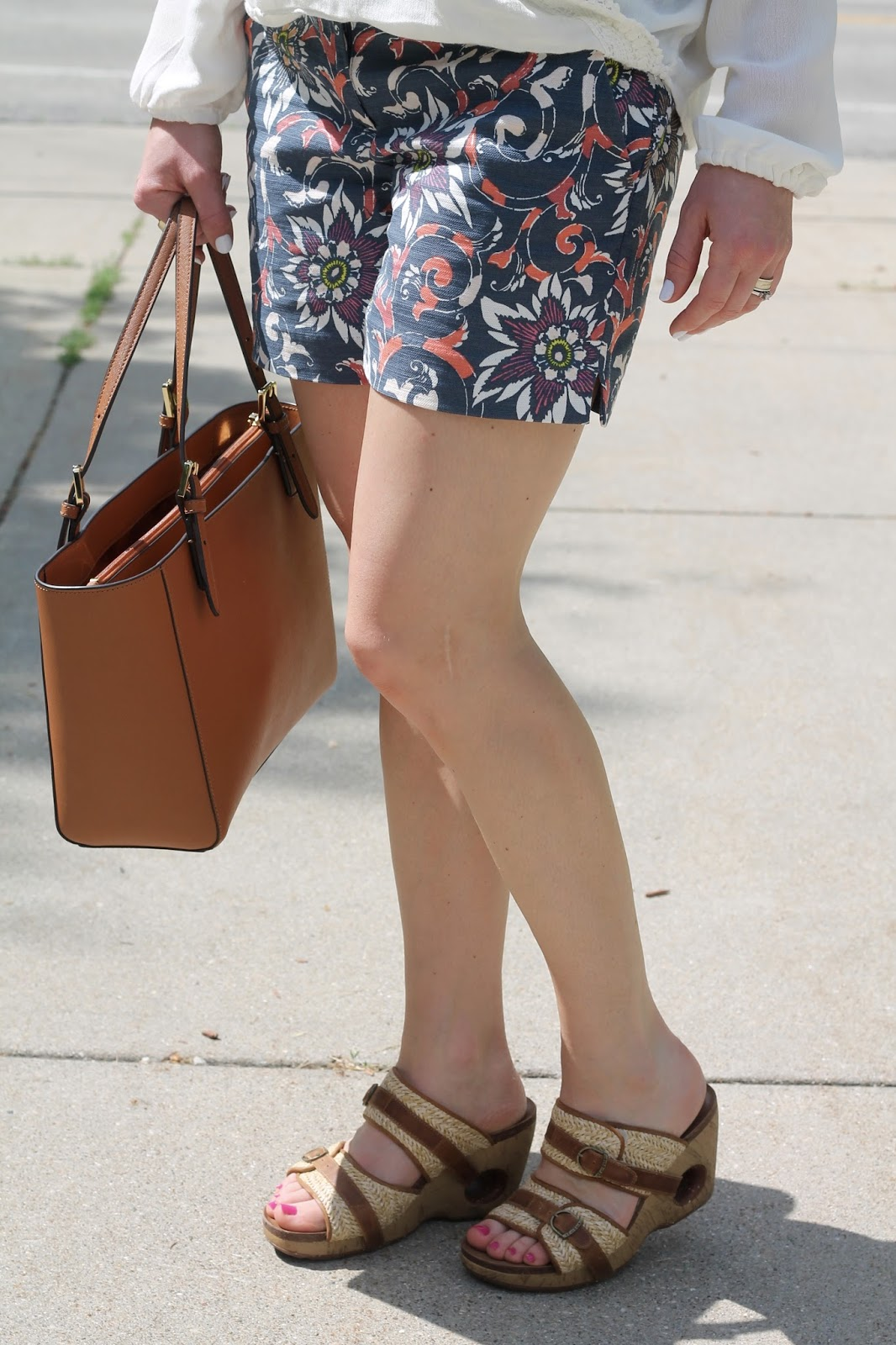 white crossover blouse, LOFT floral shorts, Rocky 4Eursole wedges, Tory Burch tote, summer shorts outfit