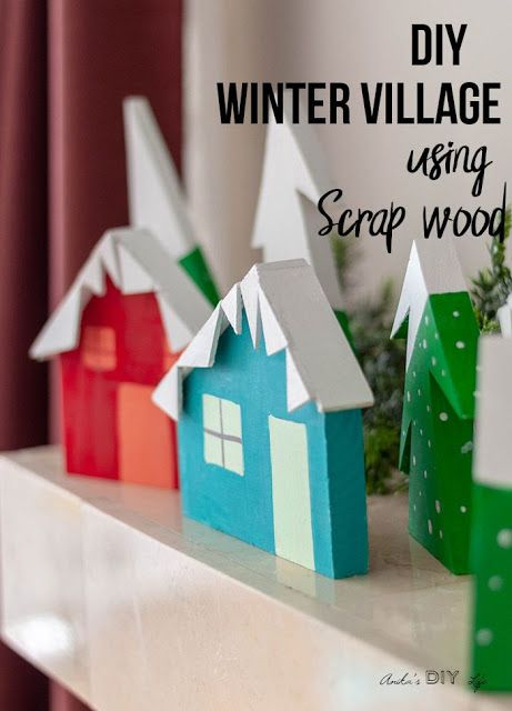 DIY Christmas village made from scrap wood